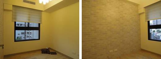 在次臥室則無過多的裝修,一邊是留白的牆面,副牆則採用仿文化石壁紙