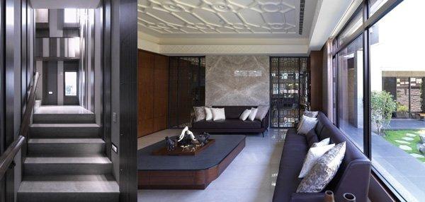 客餐廳鑲嵌了清玻璃的雕花鐵件推拉門左右呼應,同時兼顧線條美感與視覺通透感;樓梯間多元設計 元素,是室內設計別出心裁的亮點。