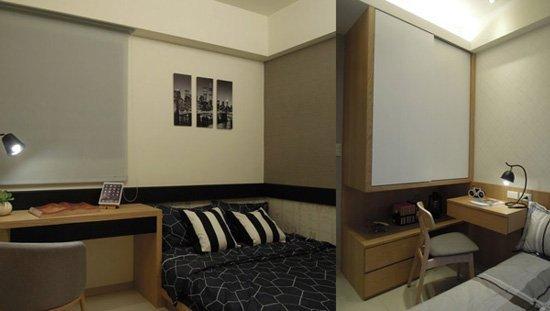 (左)把空間設計發揮最大功效~次臥起居坐臥、閱讀進修,皆能兼顧。 (右)孩臥懸空式衣櫃設計:小坪數也能將居住巧思運用得淋漓盡致。