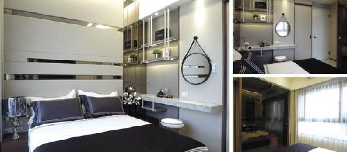 時尚主臥室,皮革與鏡面交織浪漫與華美氣息。